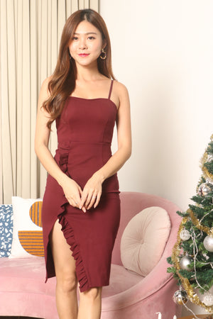 * PREMIUM * Weelia Flutter Slit Cami Dress in Burgundy - LBRLABEL MANUFACTURED