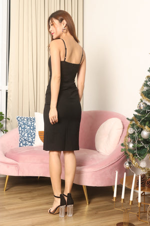 * PREMIUM * Weelia Flutter Slit Cami Dress in Black - LBRLABEL MANUFACTURED