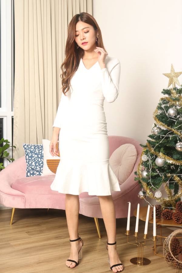 *LUXE* Angerila Mermaid Sleeved Dress in White