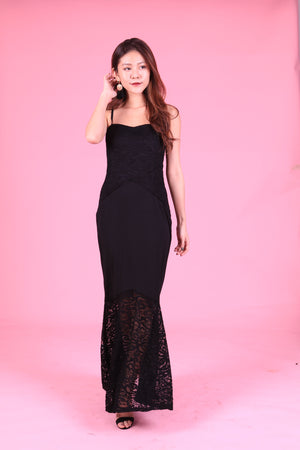 LUXE - AERESA CROCHET MERMAID DRESS IN BLACK