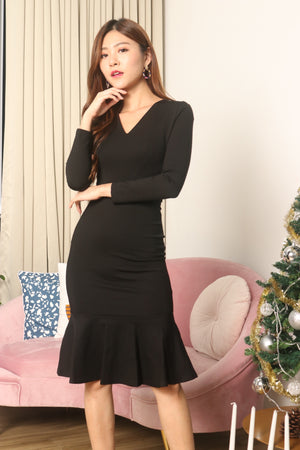 *LUXE* Angerila Mermaid Sleeved Dress in Black