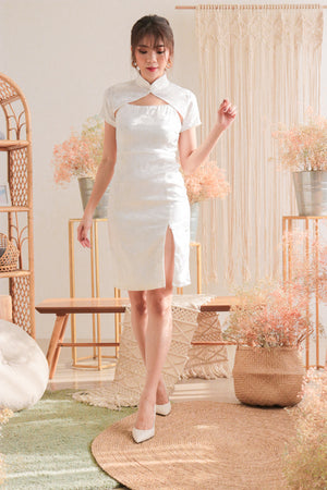 Load image into Gallery viewer, * PREMIUM * - Gracilia 3 Ways Midi Dress in White (Detachable Collars) - Self Manufactured by LBRLABEL Only