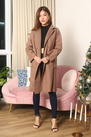 *LUXE* - Henixa Oversized Button Coat in Dark Brown