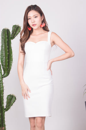 * PREMIUM * - IVILIA MIDI DRESS IN WHITE - LBRLABEL SELF MANUFACTURED