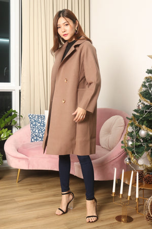 (BO) *LUXE* - Henixa Oversized Button Coat in Dark Brown