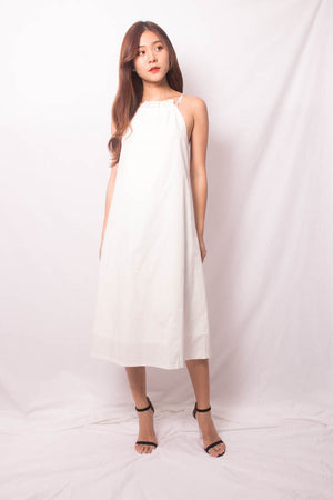 Andiella Halter Midi Dress in White