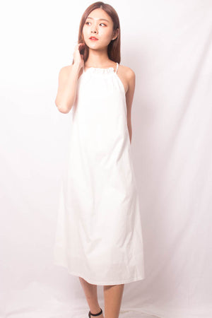 Load image into Gallery viewer, Andiella Halter Midi Dress in White