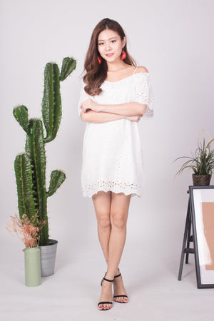 Kelly Crochet Eyelet Dress in White