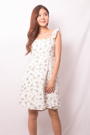 * PREMIUM * FEALIA TWO WAYS FLORAL DRESS IN WHITE - SELF MANUFACTURED BY LBRLABEL