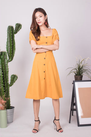 Julimea Sleeved Button Dress in Mustard