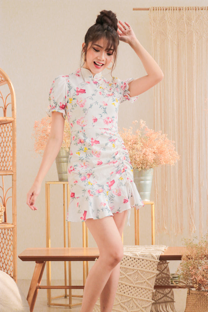 * PREMIUM * - Algelia Floral Cheongsam Dress in White - Self Manufactured by LBRLABEL only