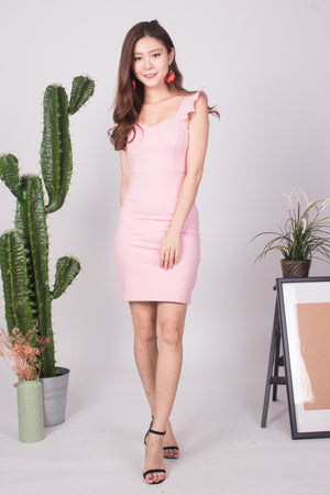 * PREMIUM * - CLARIELIA FLUTTER DRESS IN PINK - SELF MANUFACTURED BY LBRLABEL