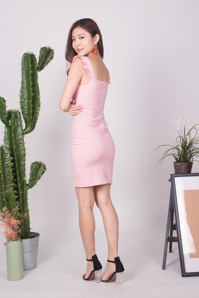 Load image into Gallery viewer, * PREMIUM * - CLARIELIA FLUTTER DRESS IN PINK - SELF MANUFACTURED BY LBRLABEL
