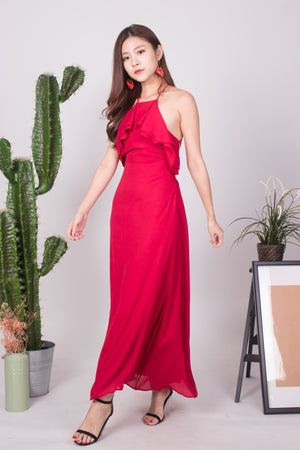 Load image into Gallery viewer, * LUXE * - Maryjane Flutter Halter Gown Dress in Red