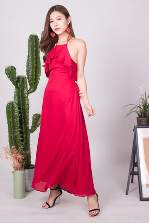 * LUXE * - Maryjane Flutter Halter Gown Dress in Red