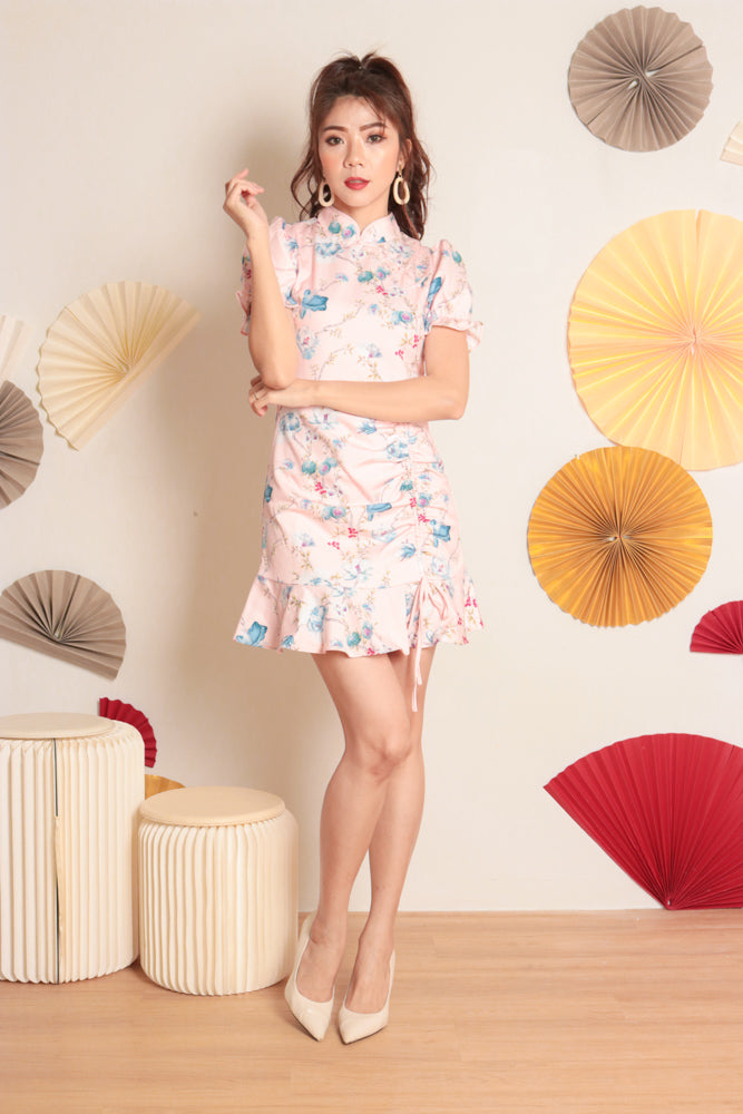 Load image into Gallery viewer, * PREMIUM * - Algelia Floral Cheongsam Dress in Pink - Self Manufactured by LBRLABEL only