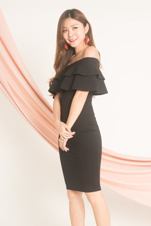 Jellima Off Shoulder Dress in Black