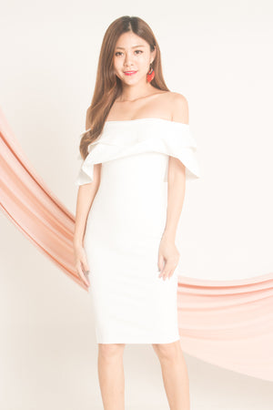 Jellima Off Shoulder Dress in White