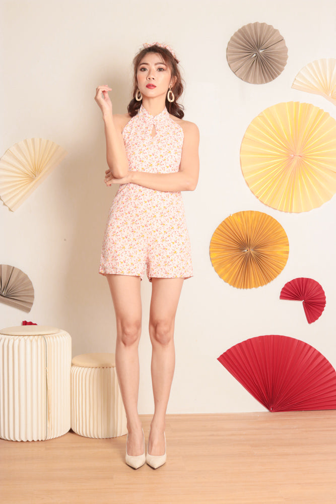 Load image into Gallery viewer, *PREMIUM* Honglia Halter Floral Romper in Pink - Self Manufactured by LBRLABEL