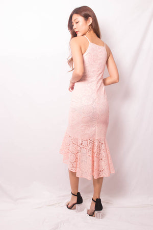 * PREMIUM * VEELIA CROCHET MERMAID DRESS IN PASTEL PINK - SELF MANUFACTURED BY LBRLABEL