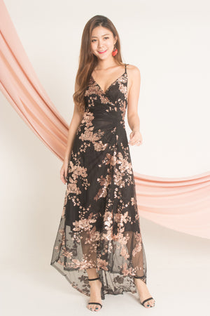 *LUXE* Barbiea Sequin Gown Dress in Black