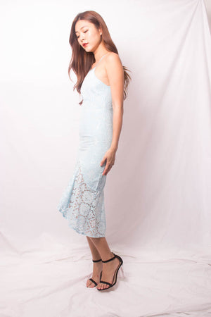 * PREMIUM * VEELIA CROCHET MERMAID DRESS IN PASTEL BLUE - SELF MANUFACTURED BY LBRLABEL