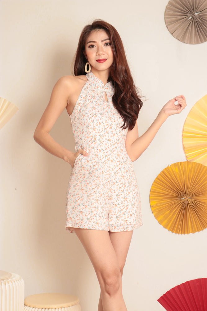 *PREMIUM* Honglia Halter Floral Romper in White - Self Manufactured by LBRLABEL