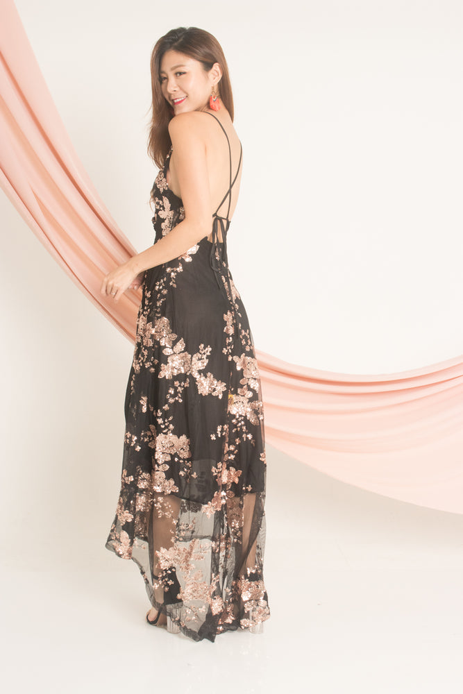 Load image into Gallery viewer, *LUXE* Barbiea Sequin Gown Dress in Black