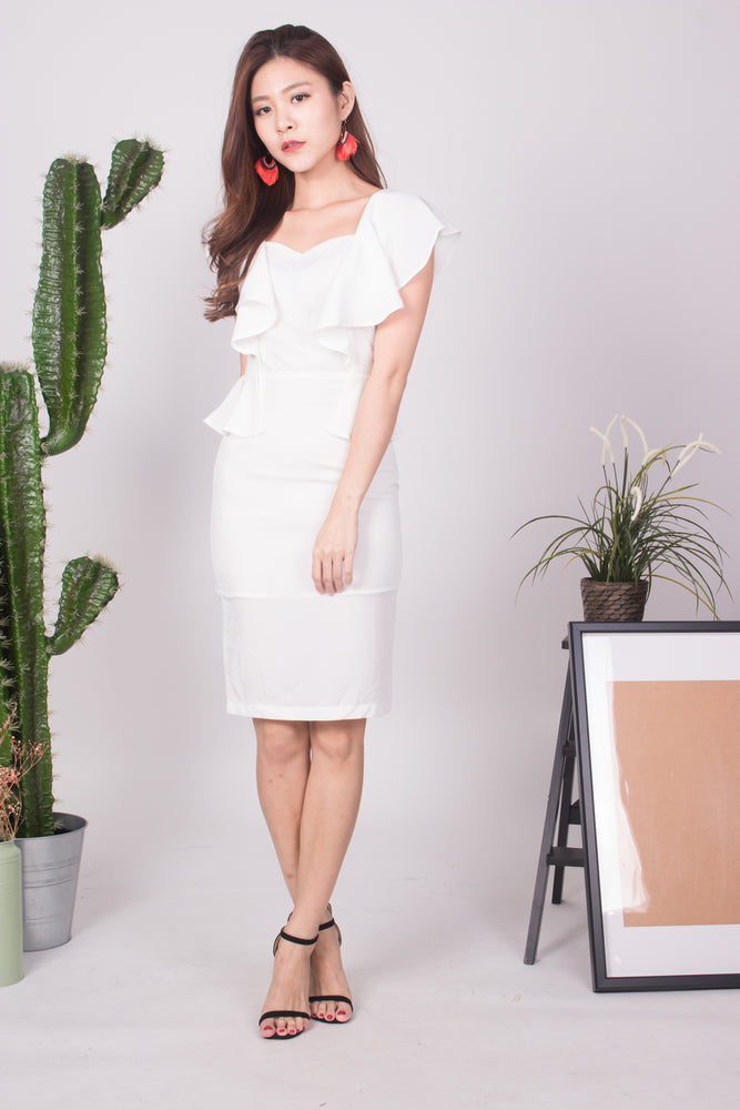 Load image into Gallery viewer, Klerisa Flutter Lace Dress in White