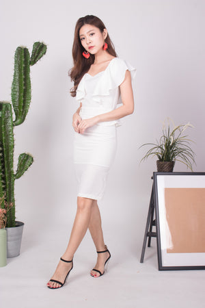 Klerisa Flutter Lace Dress in White