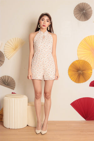 Load image into Gallery viewer, *PREMIUM* Honglia Halter Floral Romper in White - Self Manufactured by LBRLABEL