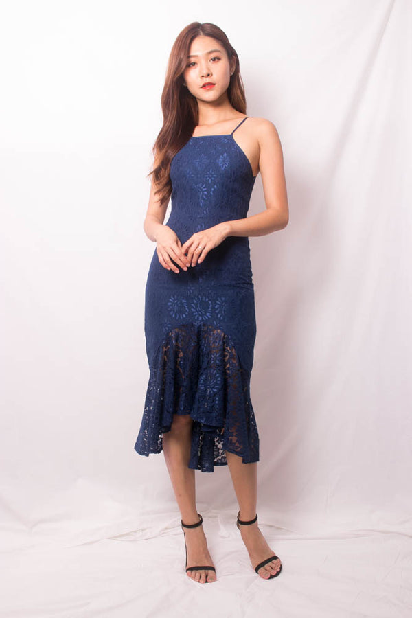 * PREMIUM * VEELIA CROCHET MERMAID DRESS IN NAVY - SELF MANUFACTURED BY LBRLABEL