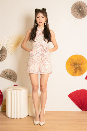 Load image into Gallery viewer, *PREMIUM* Honglia Halter Floral Romper in Red Florals - Self Manufactured by LBRLABEL