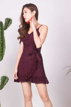 Najesla Crochet Dress in Burgundy