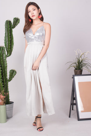 * LUXE * Nesaliza Sequin Gown in Sliver