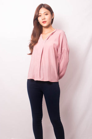 Nera Basic Sleeved Top in Pink