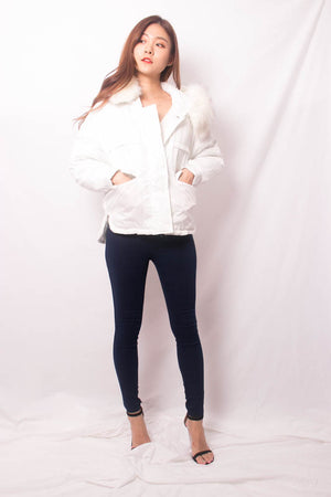 * LUXE * Elgine Fur Coat in White