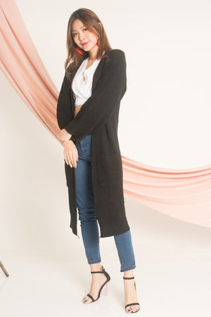 *LUXE* - Meria Knit Long Cardigan in Black