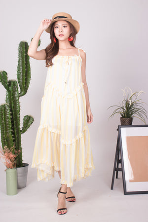 * LUXE * - Bretila Stripes Flutter Maxi Dress in Yellow