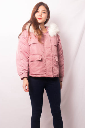 * LUXE * Elgine Fur Coat in Pink