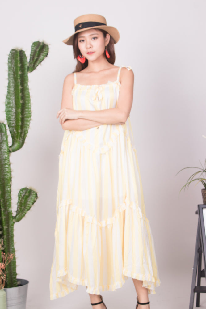 Load image into Gallery viewer, * LUXE * - Bretila Stripes Flutter Maxi Dress in Yellow