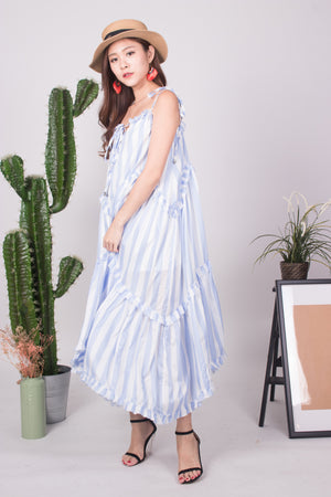 * LUXE * - Bretila Stripes Flutter Maxi Dress in Blue