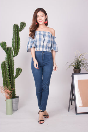 Canelyn Check Top in Blue