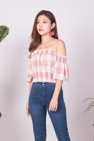 Canelyn Check Top in Pink