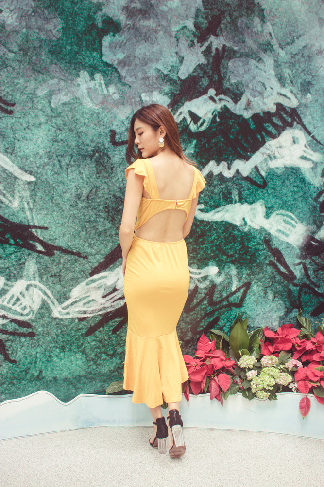 Load image into Gallery viewer, Dehala Flutter Dress in Mustard