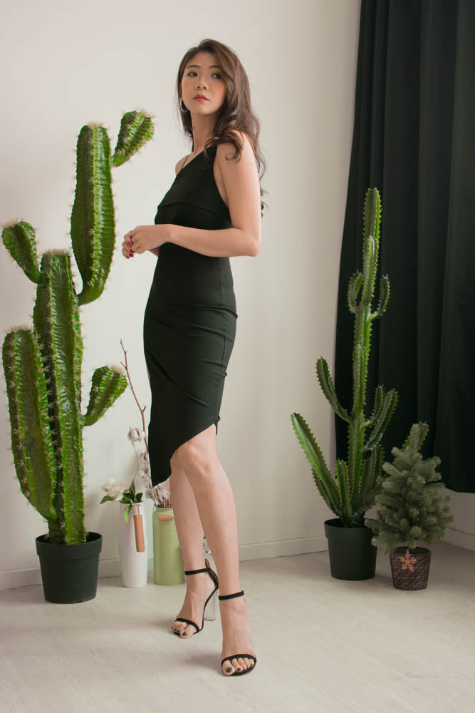 Load image into Gallery viewer, * PREMIUM * Alexilia Asymmetrical Dress in Black - Self Manufactured by LBRLABEL