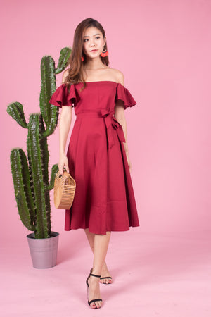 *LUXE* Sabrelle Two Ways Flutter Dress in Burgundy