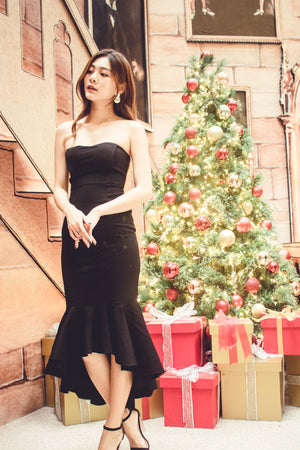 * PREMIUM * - Kelia Bustier Gown Dress in Black - LBRLABEL MANUFACTURED