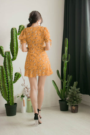 Kelly Floral Dress in Marigold