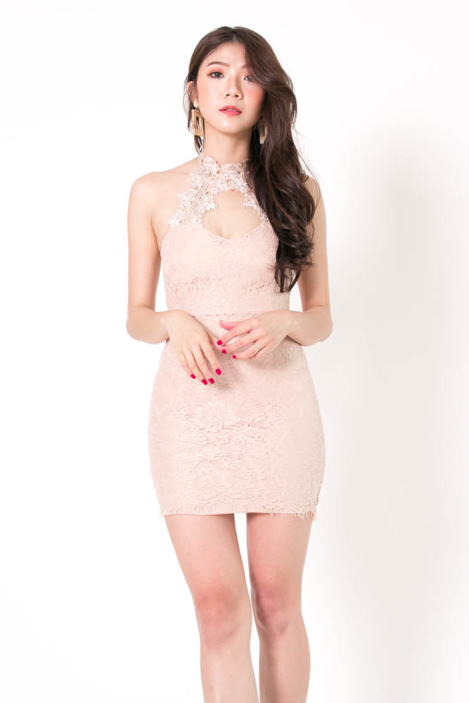 Ching Crochet Halter Dress in Nude